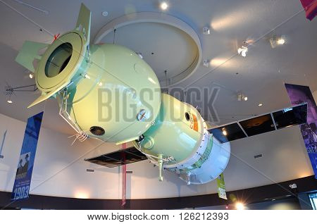 FLORIDA, USA - DEC 20: Soyuz Spacecraft Model in Kennedy Space Center Visitor Complex on Dec. 20, 2010 in Cape Canaveral, Florida, USA.