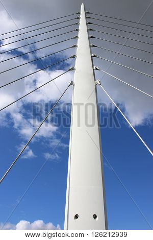 Support pillar and cables of a suspension bridge ** Note: Visible grain at 100%, best at smaller sizes