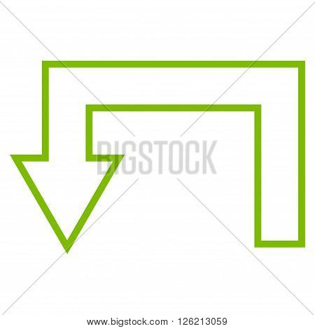 Return Arrow vector icon. Style is contour icon symbol, eco green color, white background.