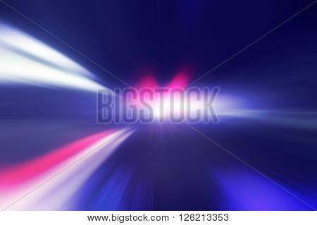 Abstract image of speed motion on the night road in tunnel.