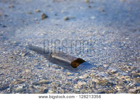 Glass bottle in water of the river