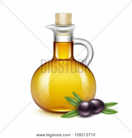 Olive Oil Glass Jug Pitcher Jar Bottle with Olives Branches on Leaves Isolated on White Background