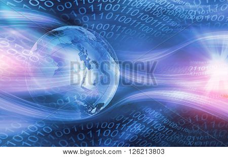 Graphical Digital Technology World Background Waving Lines Passing Through Digital Space.