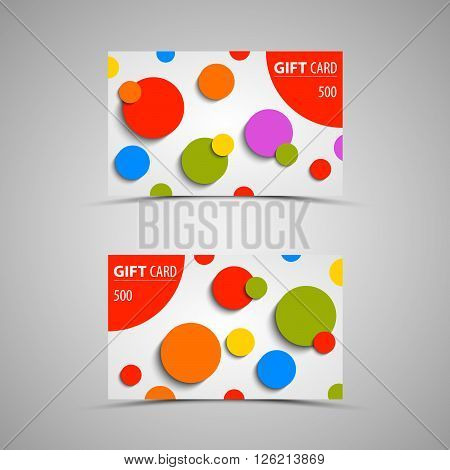 Gift card with abstract colored circles vector eps 10