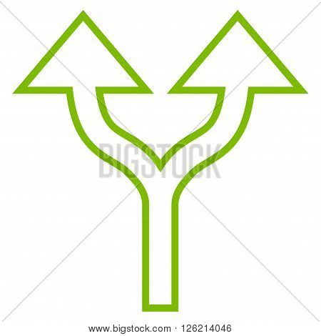Split Arrows Up vector icon. Style is stroke icon symbol, eco green color, white background.