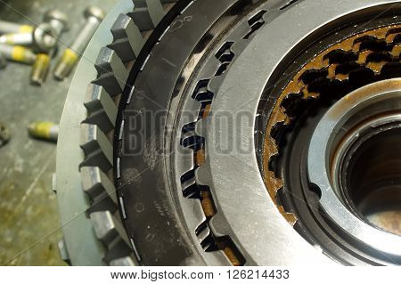 Parts From A Vehicle Gearbox.