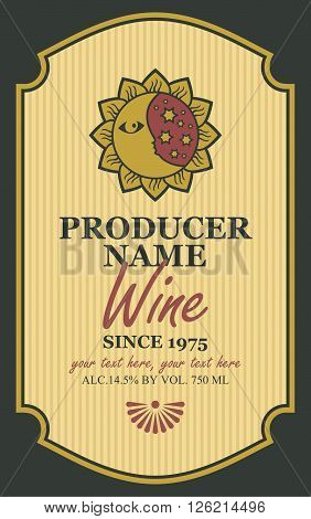 wine label with a picture of the sun and moon