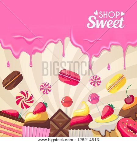 Sweet dessert food frame isolated on white background. Vector illustration for culinary design. Holiday birthday candy. Colorful delicious collection. Macaroon, berry, donut, cookies wallpaper.