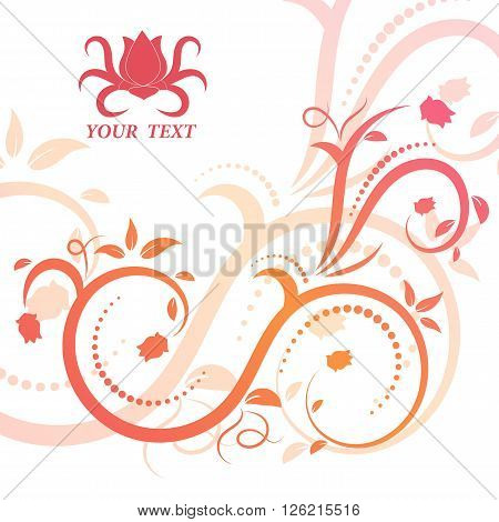 Beautiful floral illustration with swirls. Vector decorative ornament.