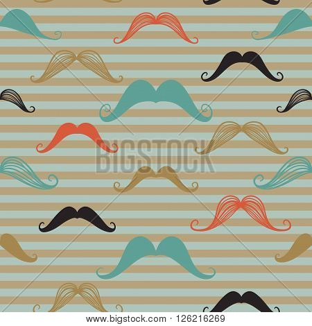 Mustache seamless pattern in vintage style. Pattern or texture with curly retro gentleman mustaches on striped background. Seamless pattern can be used for  web page background surface textures.