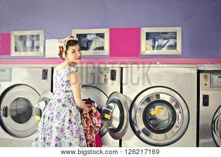 In the laundry room