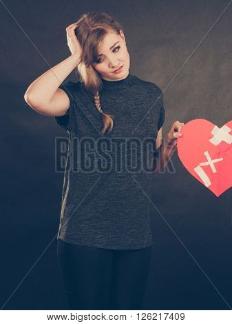 Unhappy Woman With Broken Heart.