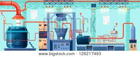 Stock vector illustration interior of plant, factory, bakery and baking for production of bakery products in flat style element for info graphic, website, icon