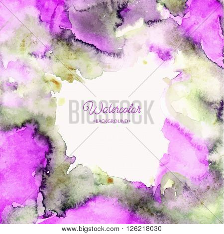 Abstract hand drawn watercolor background,vector illustration, stain watercolors colors on wet paper, Watercolor composition for scrapbook elements with empty space for text message.