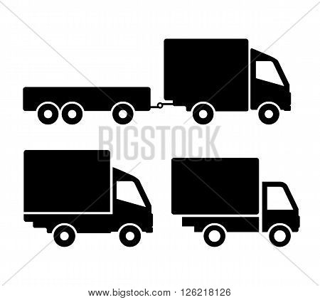 Car truck icons isolated on white background