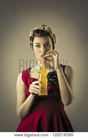 Woman with soft drink