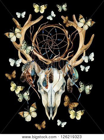 Deer skull. Animal skull with dreamcather and butterfly. Deer skull and ethnic dreamcatcher with feathers and butterfly isolated on black background. Watercolor hand painted illustration.