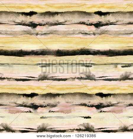 Watercolor striped abstract background. Pink golden and black stripes seamless pattern. Hand painted illustration in wet watercolor technique