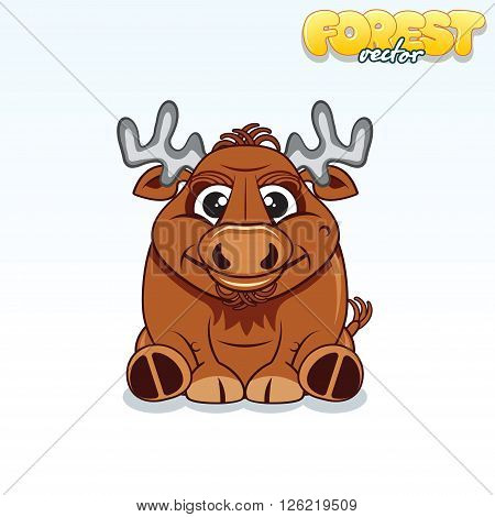 Cute Cartoon Forest Elk. Funny Vector Animal Series