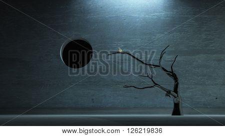 Bird on tree in dark space 3D Render