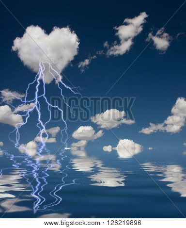 Heart Shaped Cloud With Thunderbolt and Reflection on Water 3D Render