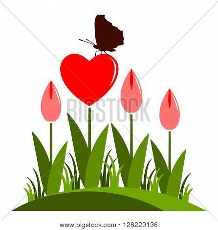 vector clump of heart flowers and butterfly isolated on white background