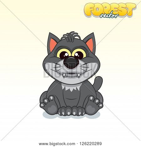 Cute Cartoon Black Wolf. Funny Vector Animal Series