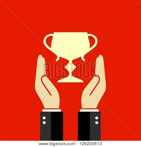 Winner cup poster design, vector clip art