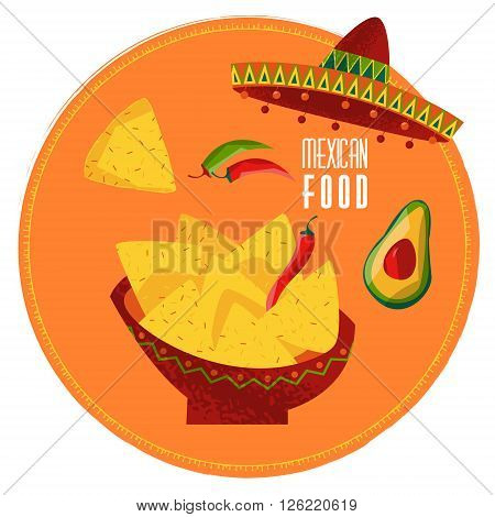 Mexican food. Nachos jalapeno pepper and avocado. Vector illustration