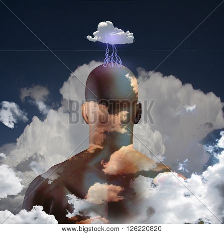 Mans head in clouds 3D Render