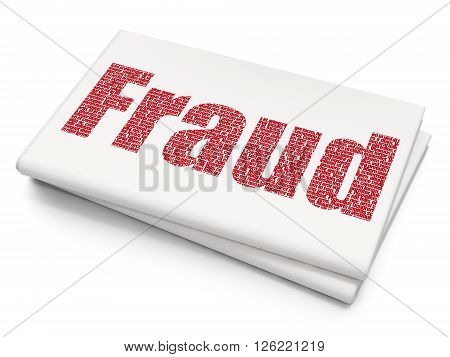 Protection concept: Fraud on Blank Newspaper background