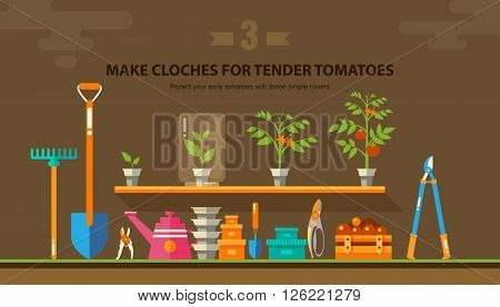 Stock vector illustration set garden tools, seedling tomatoes on the shelf in flat style element for info graphic, website, icon, games, motion design, video
