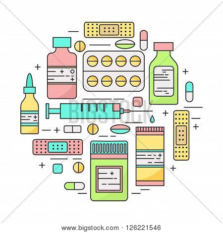 Lineart pharmacy products and pills circle. Medicine illustration.