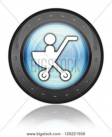 Image Photo Icon Button Pictogram with Stroller symbol