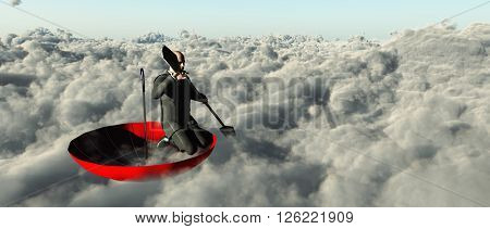 Man paddling through clouds in an upturned umbrella 3D Render