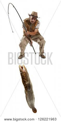 Fisherman with big fish - burbot, codfish (Lota lota) isolated on white