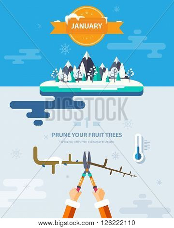 Stock vector illustration winter landscape with mountains, trees in snow, low temperature thermometer, trimming tree branches in flat style element for infographic, website, game, motion design, video