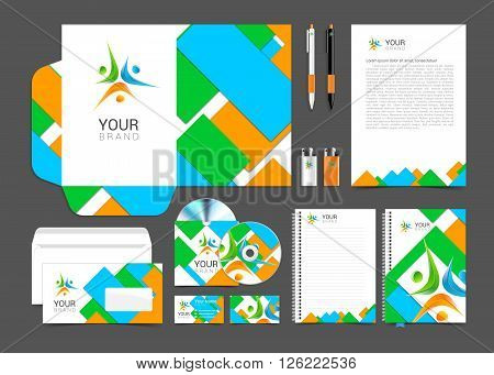 Corporate identity branding template. Vector stationery design with team community social. Business documentation.
