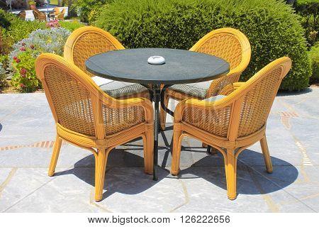 wicker seats on the mediterranean hotel terrace, Crete, Greece