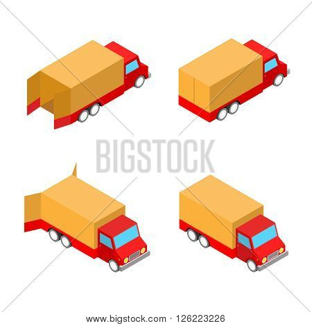 four freight delivery cars isolated on the white