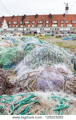 Fishing nets on dock port of Calais France