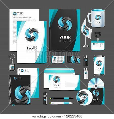 Stationery design set black turquoise corporate identity.