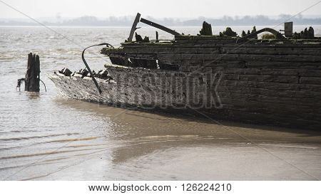 Ancient wreck on the Elba river shore