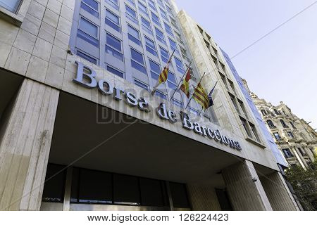 BARCELONA SPAIN - NOVEMBER 20 2015: Borsa de Barcelona stock exchange building facade.Barcelona Stock Exchange is the main stock exchange in Catalonia Barcelona Spain