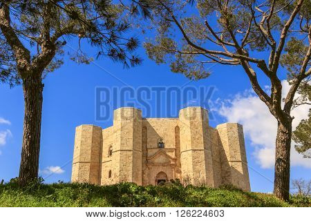 Andria,Apulia, Italy - March 27,2016: Castel del Monte aka Castrum Sancta Maria de Monte, an Unesco world heritage site in Puglia :the main facade.