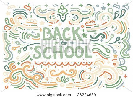 Back to school sketch. Hand drawn vintage print with decorative outline text. Vintage background. Isolated on white.