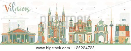 Abstract Vilnius Skyline with Color Landmarks. Business Travel and Tourism Concept with Historic Buildings. Image for Presentation Banner Placard and Web Site.