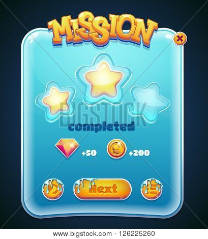 Form designed game user interface GUI for video games computers or smartphones. Mission completed window. Vector illustration.