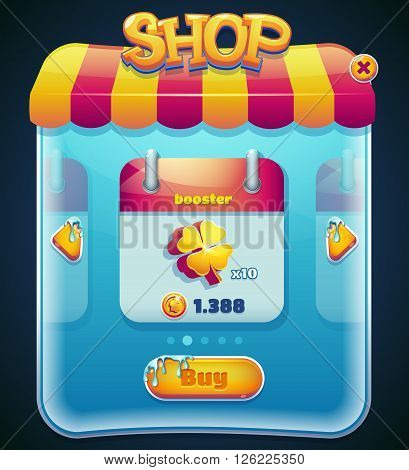 Form designed game user interface GUI for video games computers or smartphones. Shop window. Vector illustration.