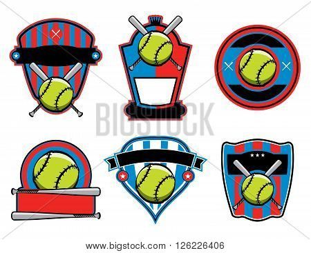 A set of softball and bat emblems badges and patches. Vector EPS 10 available.